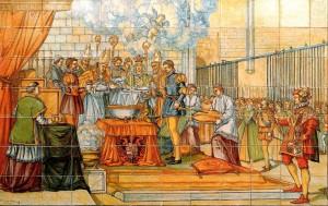 Крещение Филиппа Габсбурга (мозаичное панно в церкви Св. Павла в Вальядолиде)