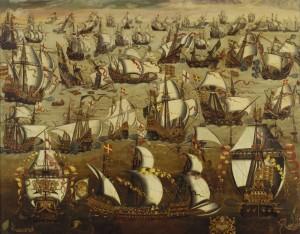 Картина работы неизвестного художника английской школы «Сражение Непобедимой армады с английским флотом» (XVI век)