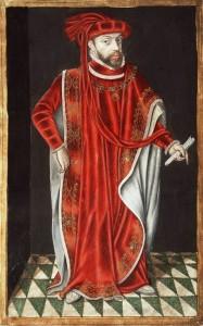 Филипп II Испанский в одеянии кавалера «Ордена Золотого Руна» (миниатюра на бумаге, 1601 г.)