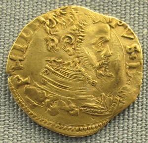 Сицилийский золотой эскудо с профилем Филиппа II