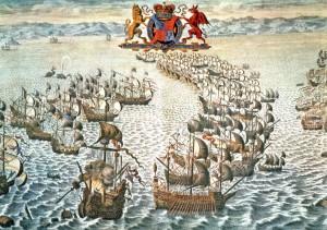 Встреча английского флота (слева) с Великой армадой на водах канала Ла-Манш. Джон Пайн, 1739 г.