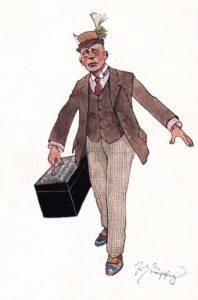Призовник (що видно по призовному квитку на капелюсі) тягне особисту скриню для речей