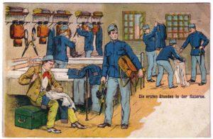 Казарма (під ліжками видно особисті скрині, а на полицях розкладено екіпірування)