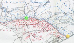 Частина італійського фронту станом на 24.10.1918 р. (Жовтий круг — район дислокації 95-го піхотного полку. Зелений круг — місце дислокації запасної роти поверненців під командуванням Станіміра.)