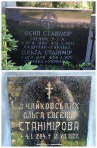 Написи над похованнями Осипа і Ольги Станімірів у Канаді та… Ольги Станімір в Україні.